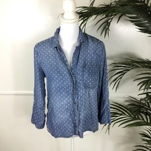 Anthropologie Cloth & Stone Blue Long Sleeve Small